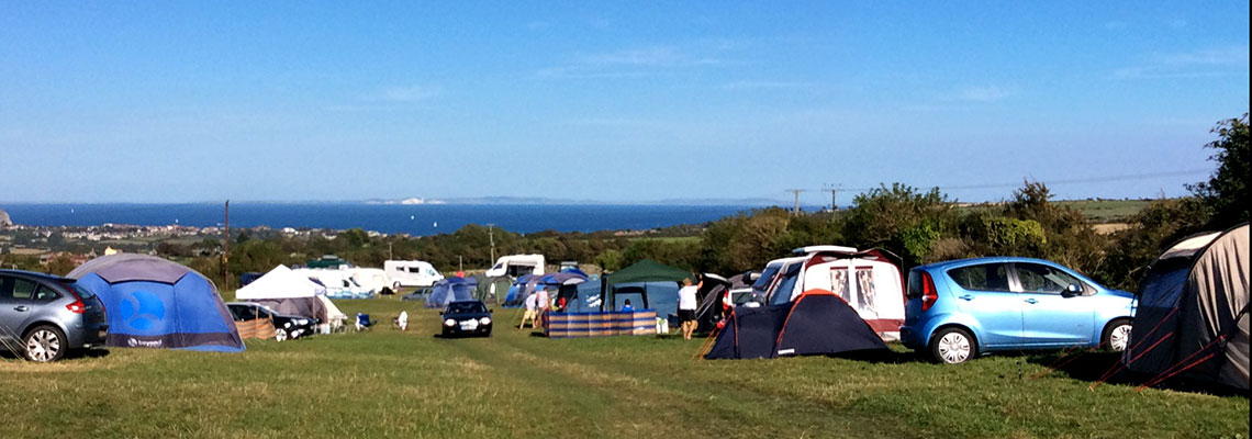 Dorset Coastal Camping at Acton View Campsite, Swanage, Isle of Purbeck