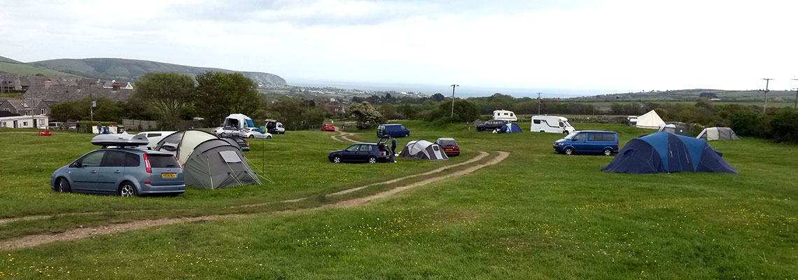Great coastal views from this dog friendly campsite near Studland and Swanage, Dorset